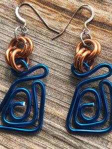 Blue Square Aluminum Wire earrings with copper colored accents and sterling silver ear wire