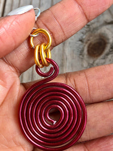 Dark Red and Gold Round Disk Aluminum Wire Earrings with sterling silver ear wire