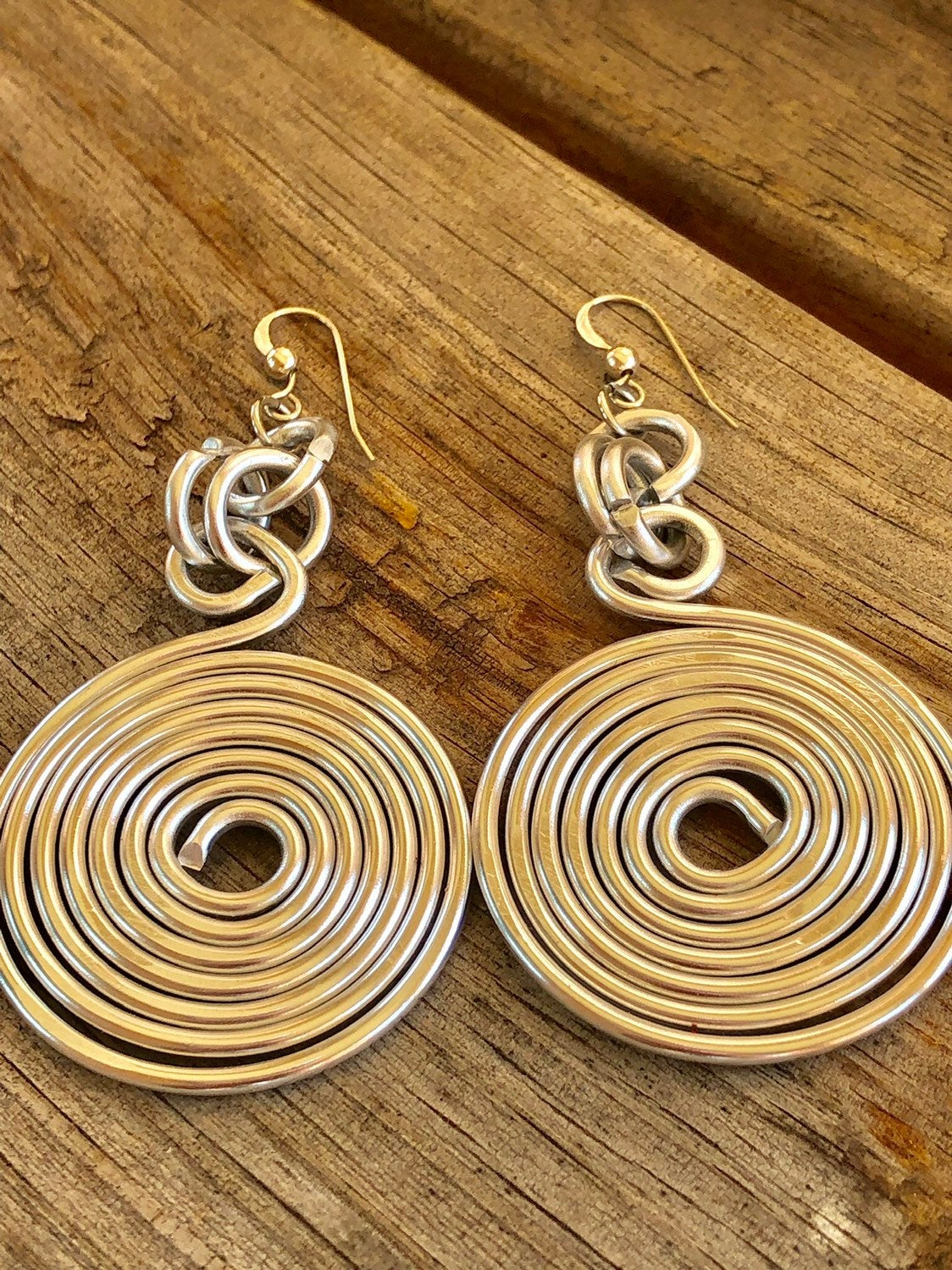 Round silver aluminum wire earrings with sterling silver ear wire