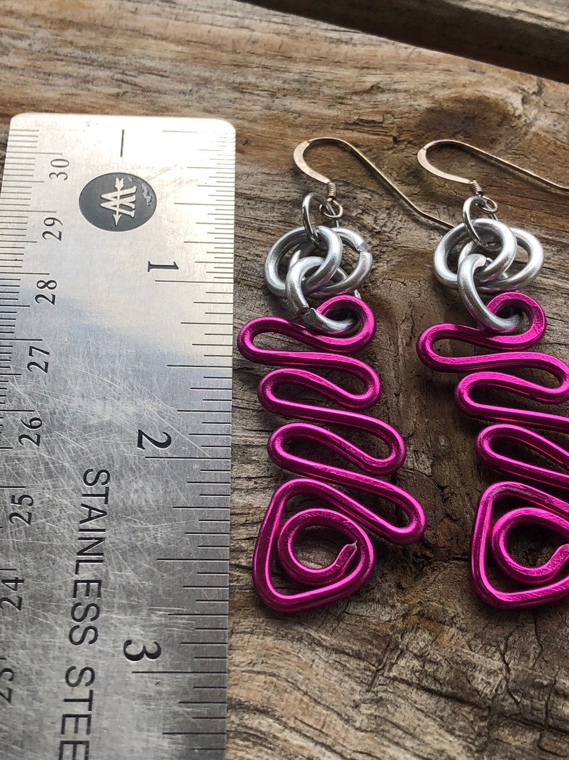 Small Pink zig zag earrings with silver accents and sterling silver ear wire