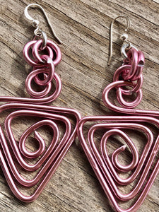 Pink Triangle Aluminum Wire Earrings With Sterling Silver Ear Wire