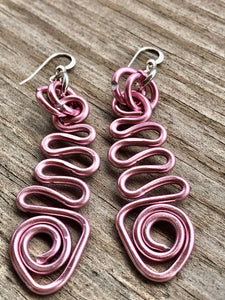Long Zig Zag Pink Abstract Triangle Earrings With Sterling Silver Ear Wire