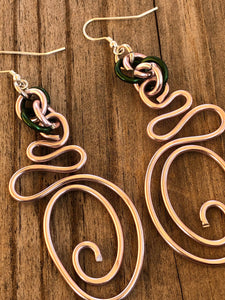 Long Abstract Pink and Green AKA Wire Earrings with sterling silver ear wire