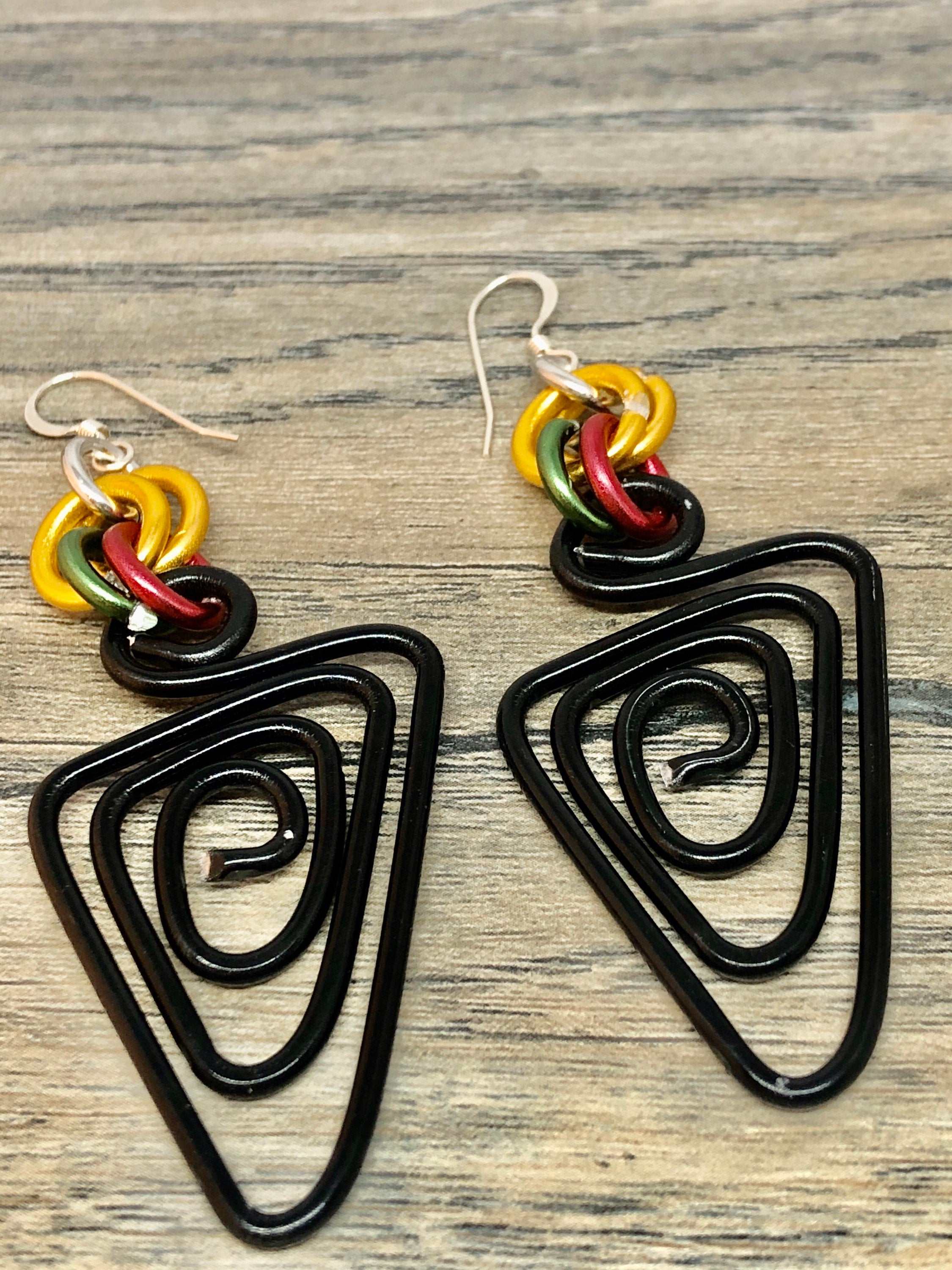 Triangle Black Aluminum Wire Earrings with Gold Green and Red Accents, Afrocentric Earrings