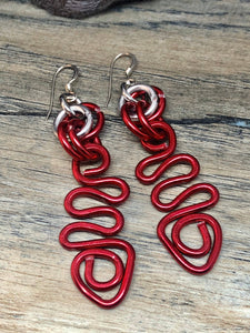 Red Zig zag ShapeAluminum Wire Earrings with Sterling Silver Ear Wire