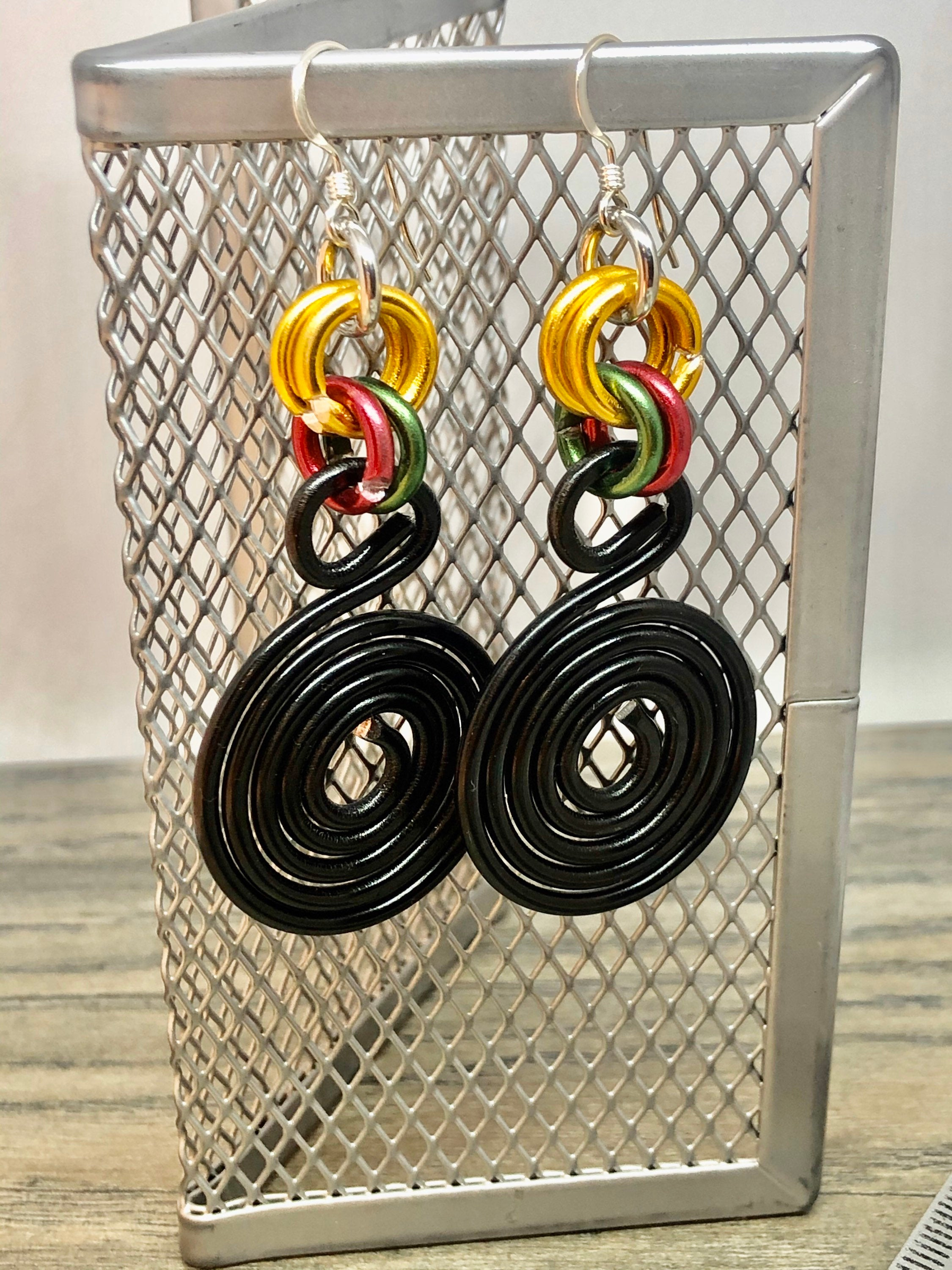 Round Black Aluminum Wire Earrings with Gold Green and Red Accents, Afrocentric Earrings