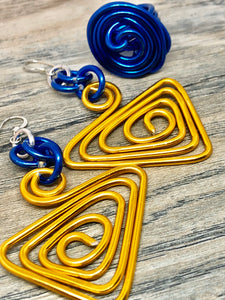 Triangle Shapes Gold and Blue Aluminum Wire Earrings with Sterling Silver Ear Wire