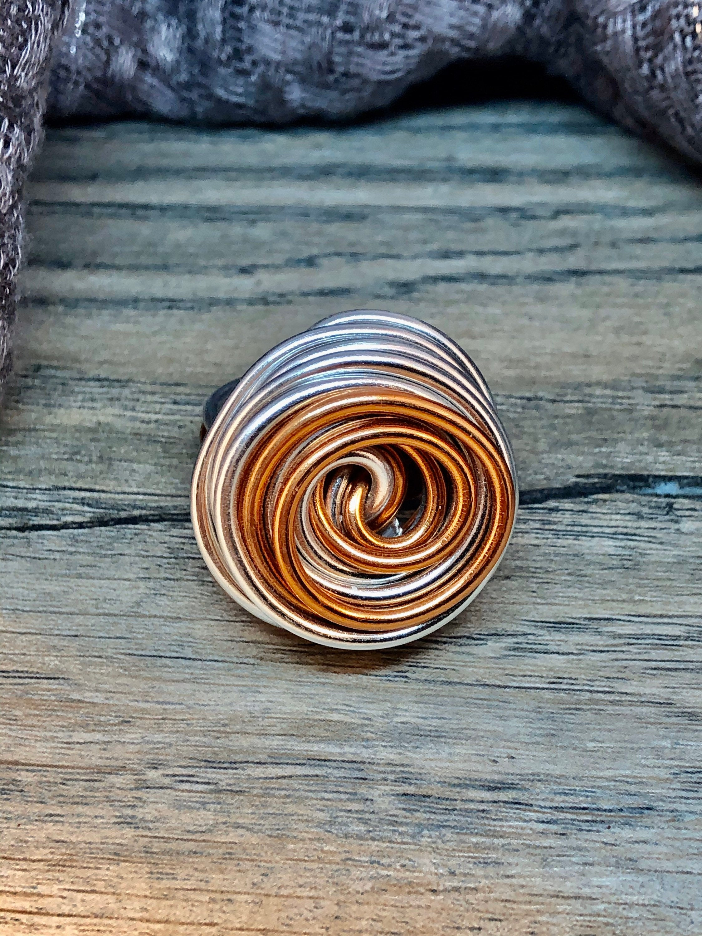 Swirl Ring in Silver and Copper, Aluminum Wire Ring, Custom Statement Ring