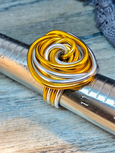 Swirl Ring in Silver and Gold Aluminum Wire Ring, Custom Statement Ring