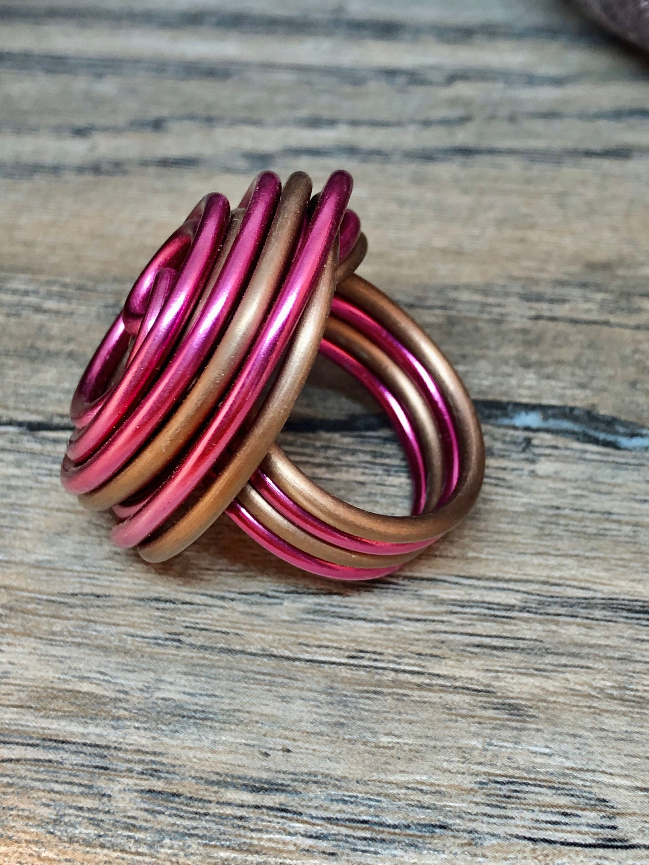 Swirl Ring in Pink and Matte Brown, Aluminum Wire Ring, Custom Statement Ring