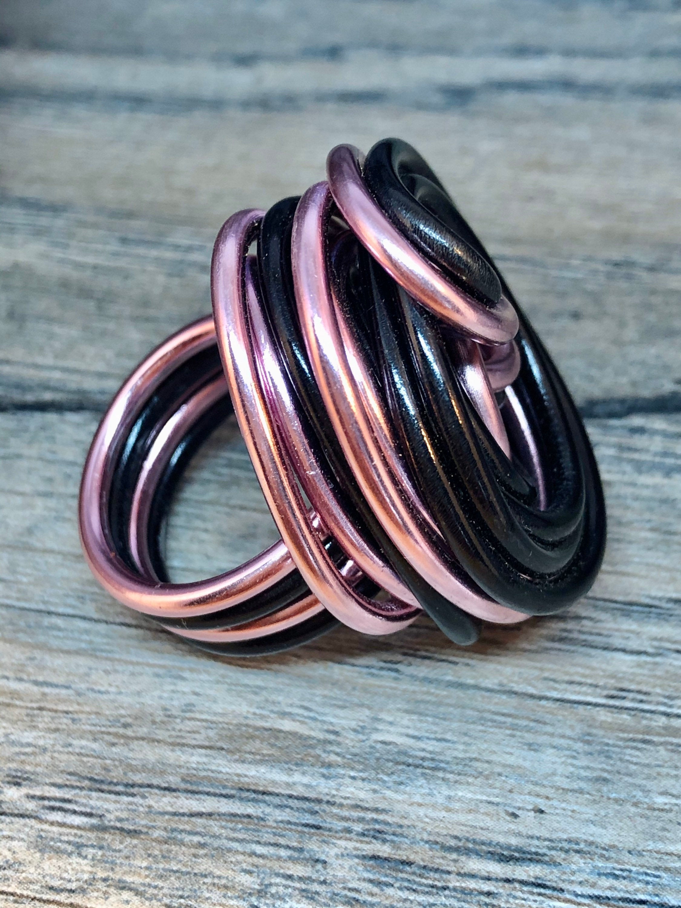 Swirl Ring in Pink and Black, Aluminum Wire Statement Ring