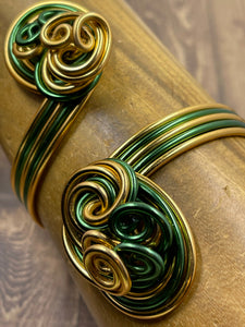 Chi Eta Phi inspired Green and Gold Cuff Bracelet