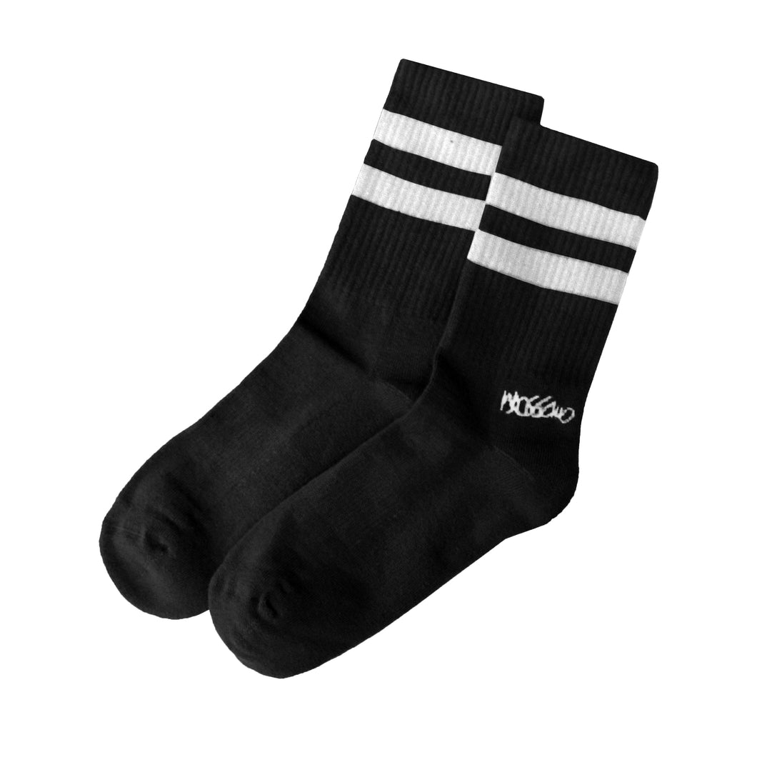 Socks - Black with White Stripes
