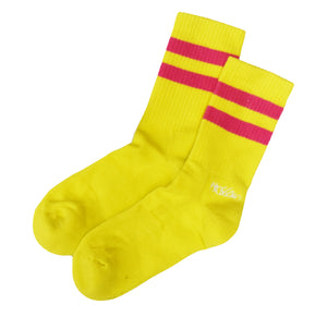 Socks - Yellow with Pink and Purple Stripes