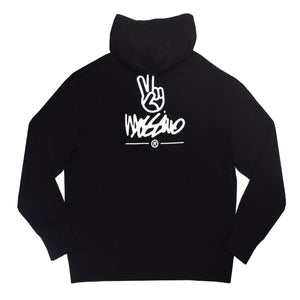 Relaxed Embroidered Back Hoodie  - Black