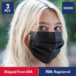 3-Ply Disposable Protective Black Face Mask - 1000 Box - 50000 Masks