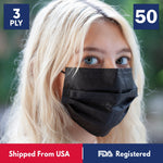 3-Ply Disposable Protective Black Face Mask - 1 Box - 50 Masks