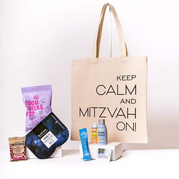 Buy Keep Calm and Mitzvah On Canvas Tote online