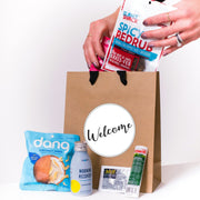 Welcome Kraft Tote with Ribbon Handles