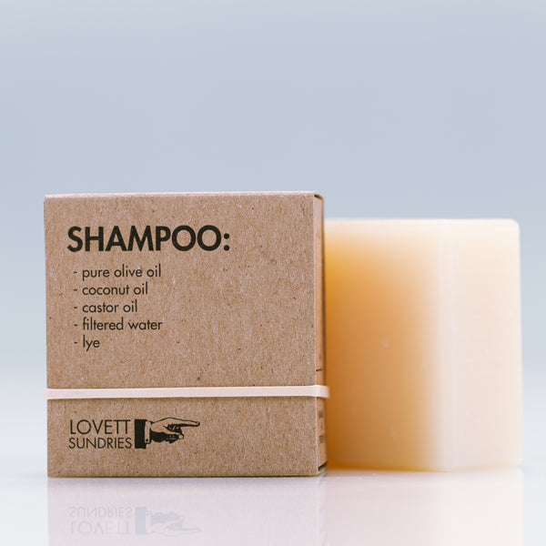 Lovett Sundries Shampoo Bar, Ingredients: olea europaea (pure olive oil), cocos nucifera (coconut oil), ricinus communis (castor oil), water, sodium hydroxide (lye)