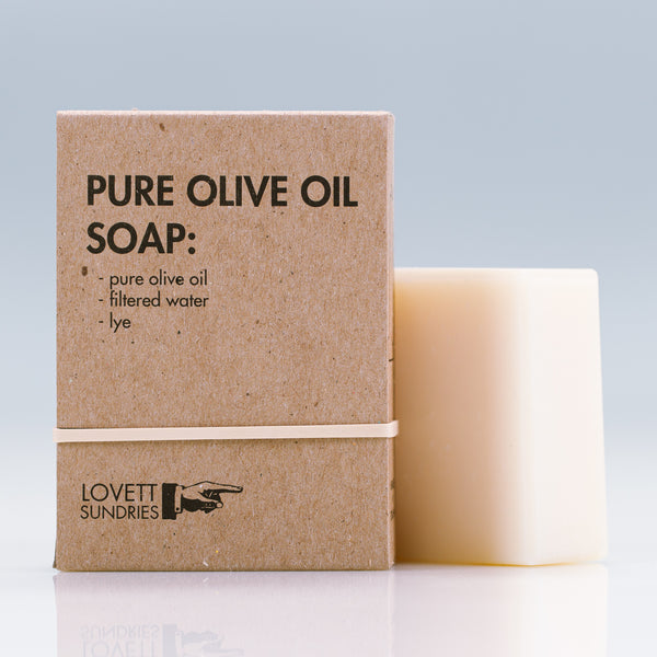 Lovett Sundries Pure Olive Oil Soap, Ingredients: olea europaea (pure olive oil), water, sodium hydroxide (lye)
