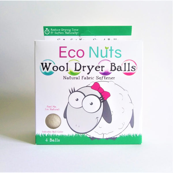 Eco Nuts Wool Dryer Balls. 4 Count, Natural Fabric Softener, Reduce Drying Time, Soften Naturally