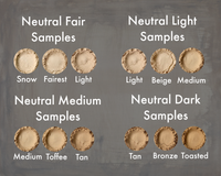 Heresy Cosmetics Foundation Samples, Neutral Colors - Fair, Light, Medium, and Dark