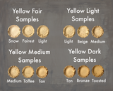 Heresy Cosmetics Foundation Samples, Yellow Colors - Fair, Light, Medium, and Dark