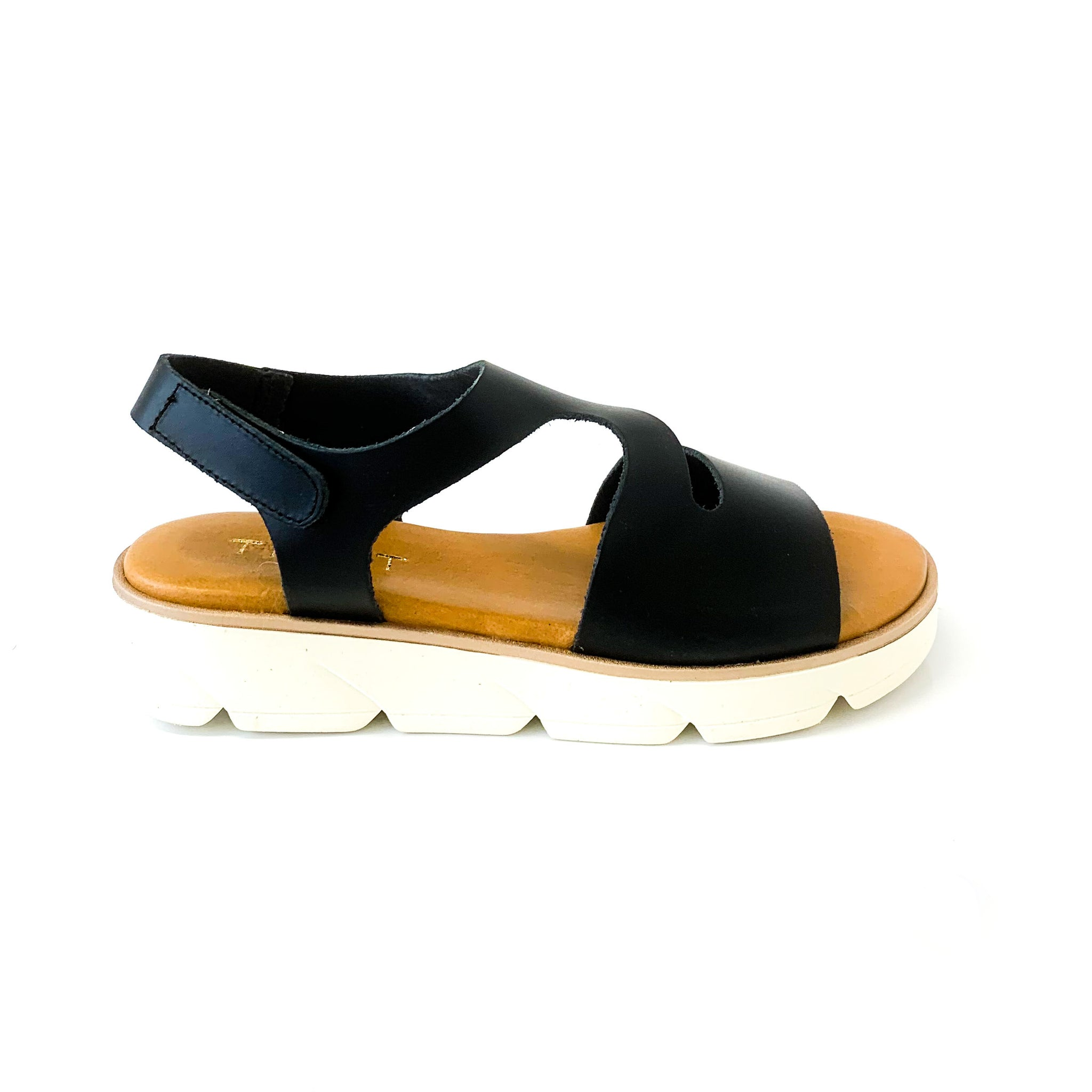 ELLA | Platform Sandals with Black Straps - TrystShoes