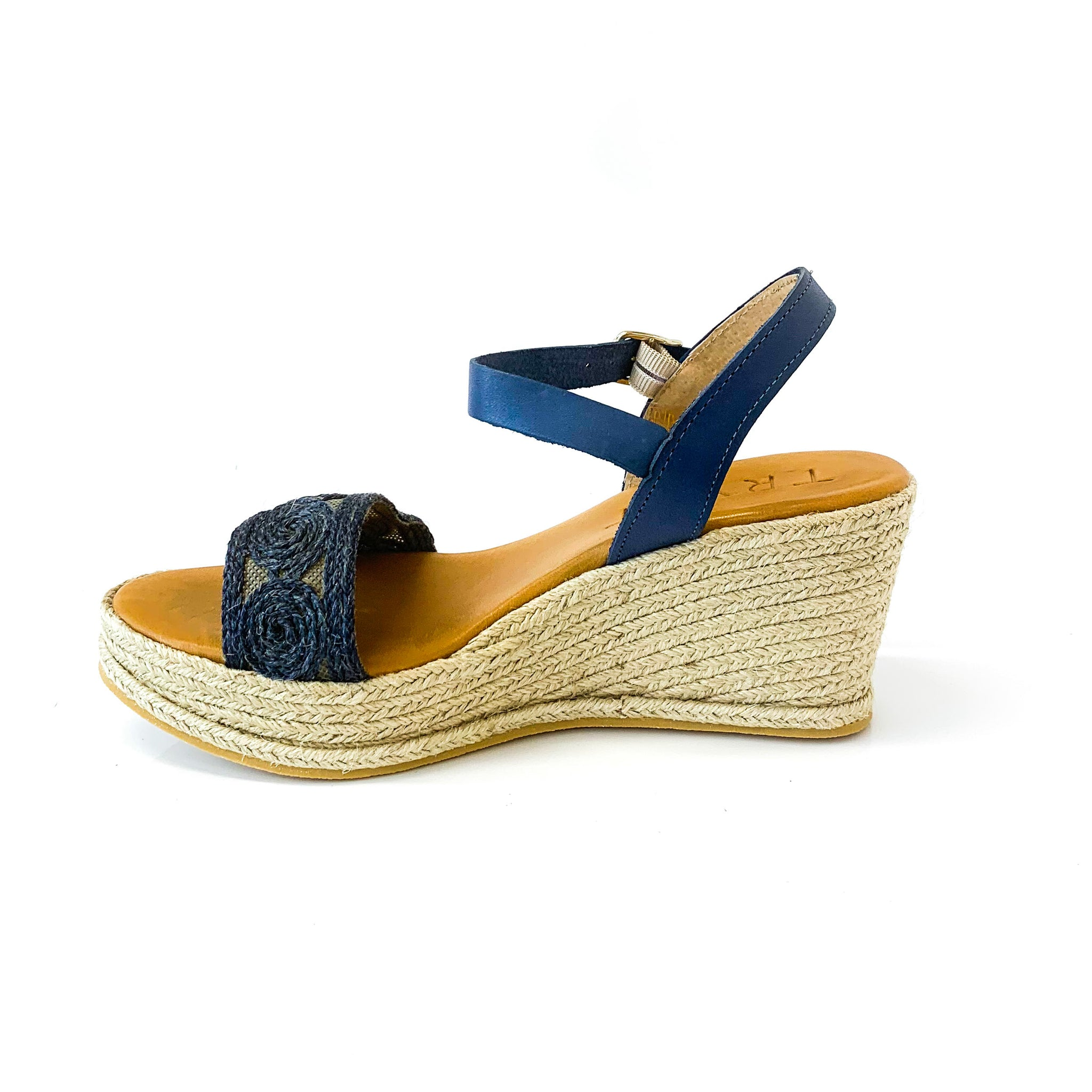 ISMA | Wedge Sandals with Blue Straps - TrystShoes