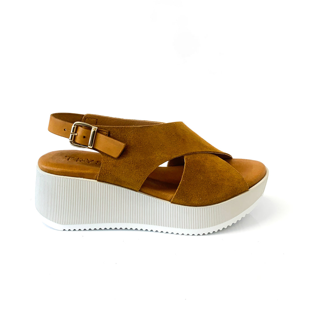 ISCO | Brown Platform Sandals - TrystShoes