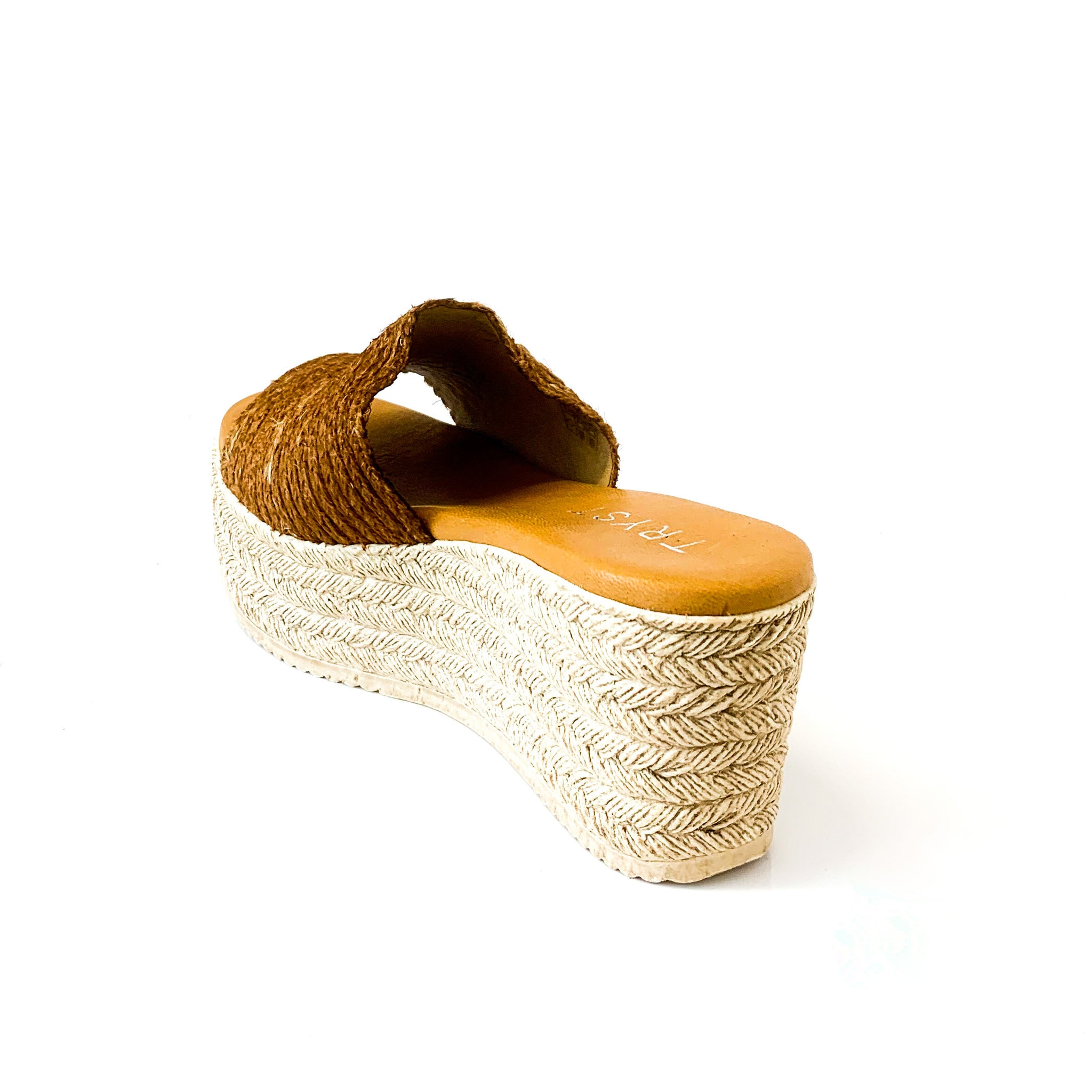 CLARA | Platform Sandals with Thick Brown Strap - TrystShoes