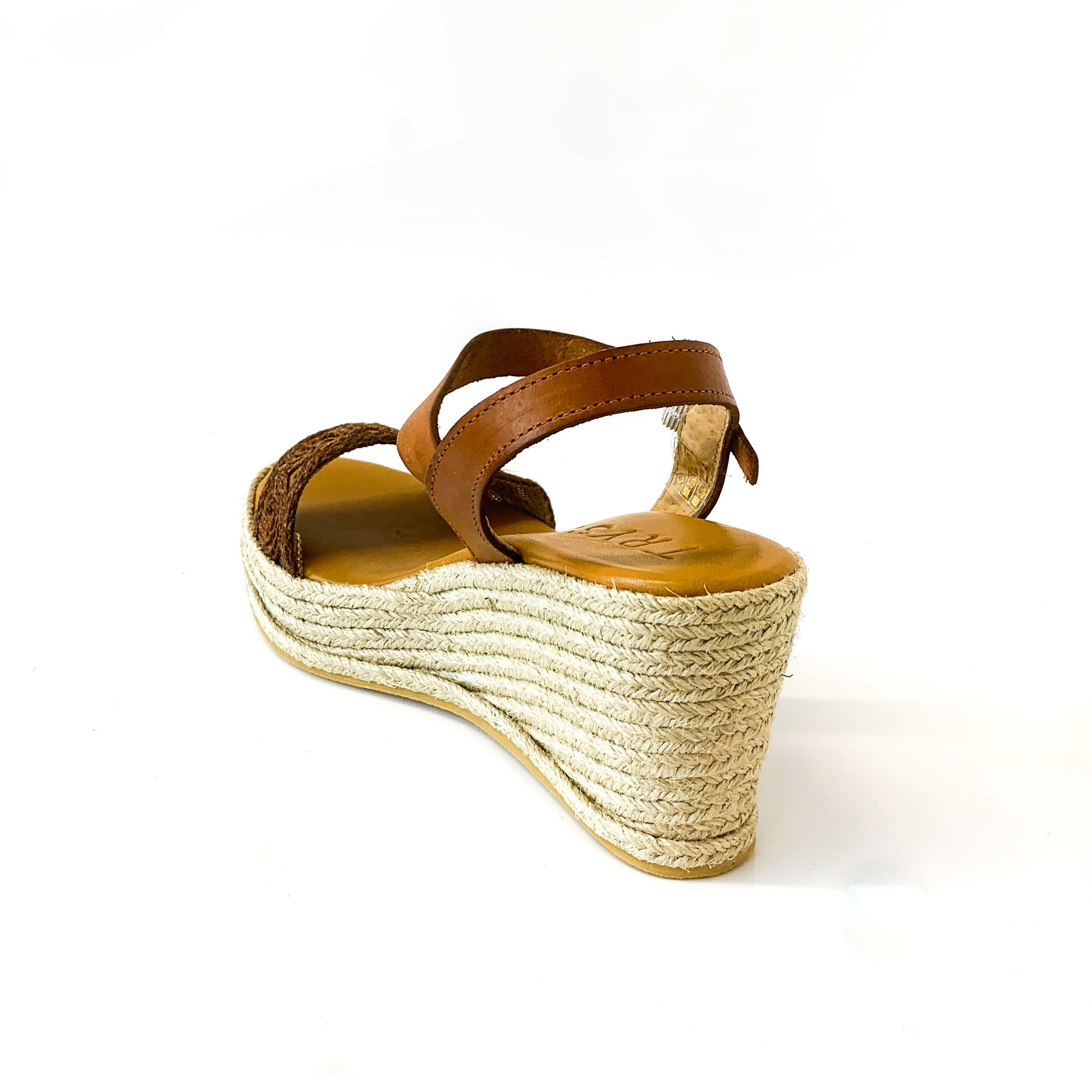 LUCI | Wedge Sandals with Brown Straps - TrystShoes