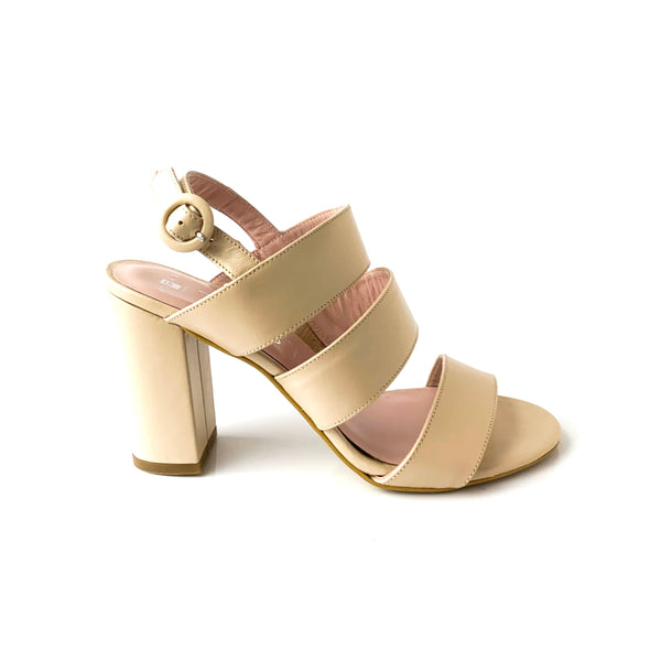 CARLI | Nude Heeled Sandals - TrystShoes