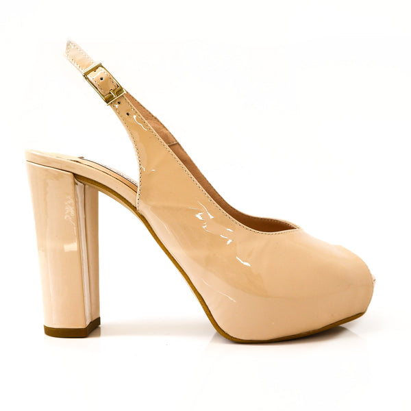 ISABELLA | Nude Patent Block Heels - TrystShoes