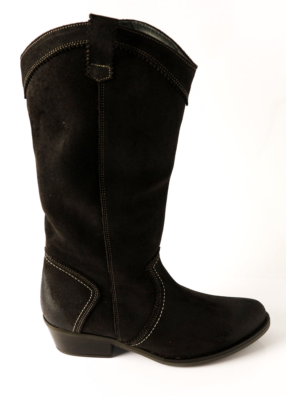 CORA | Suede Black Knee High Boots - TrystShoes