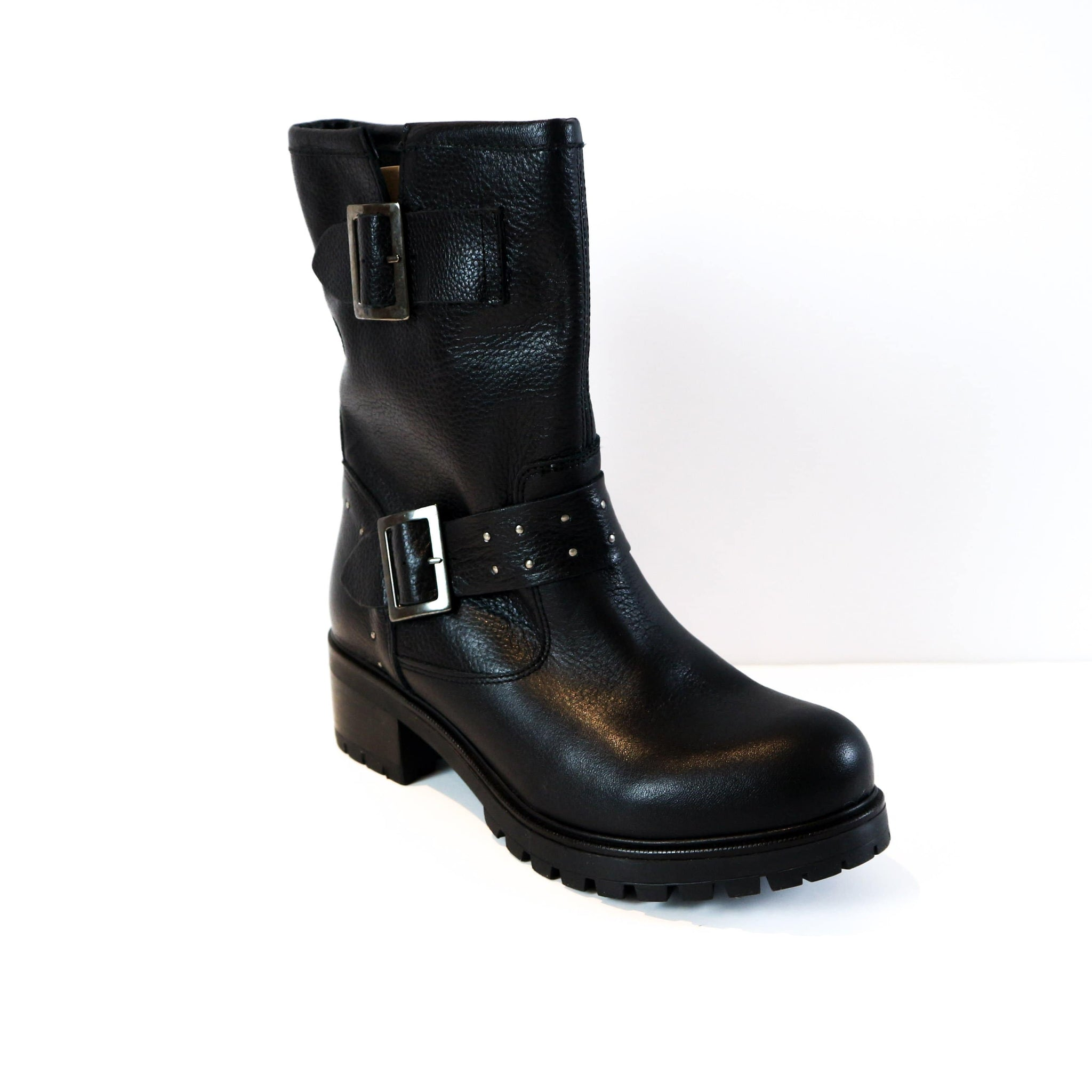 THALIA | Black Buckled Boot - TrystShoes