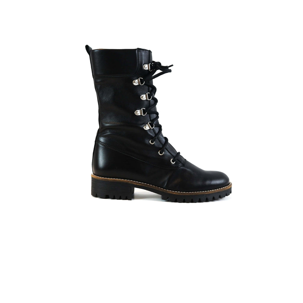 LARA | Laced Up Biker Boots - TrystShoes