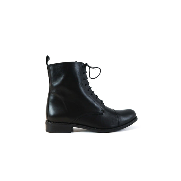 ELENA | Black Leather Boots - TrystShoes