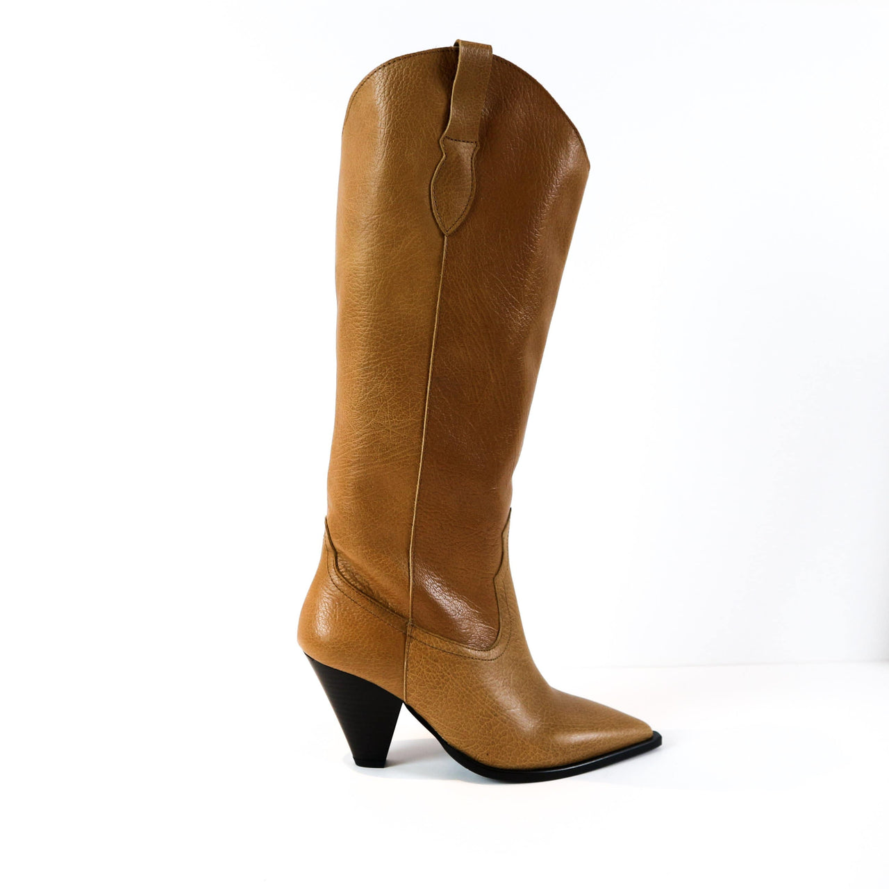 ELISE | Brown Leather Knee High Boots - TrystShoes