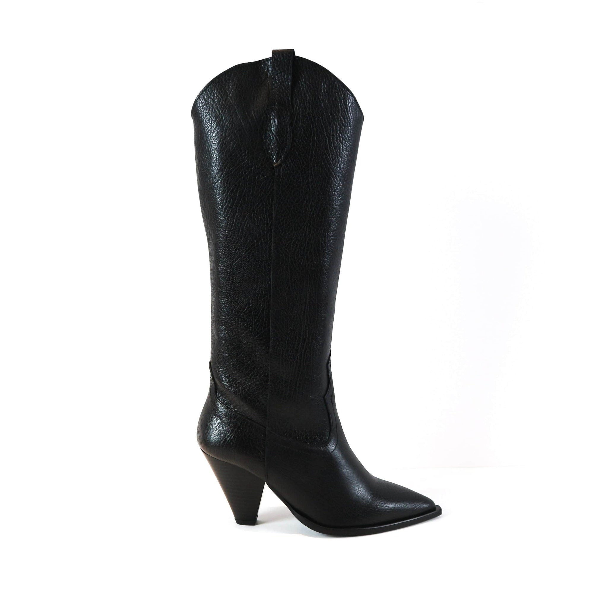 KIEARA | Black Leather Knee High Boots - TrystShoes