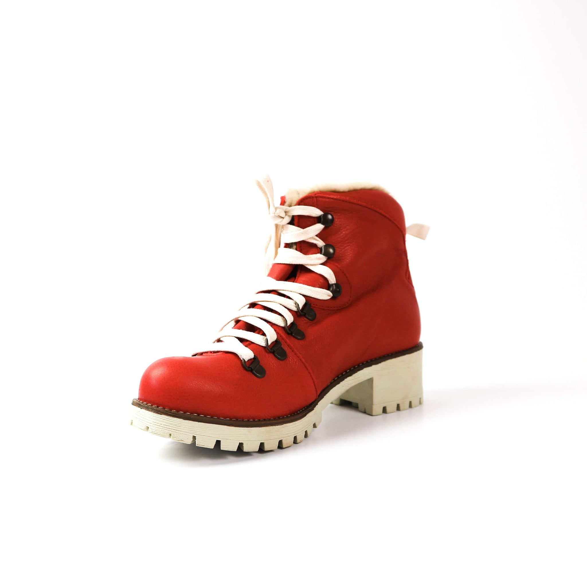ROSA | Red Fur Boot - TrystShoes