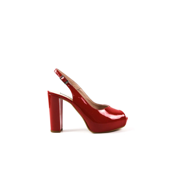 ILSA | Red Patent Block Heel - TrystShoes