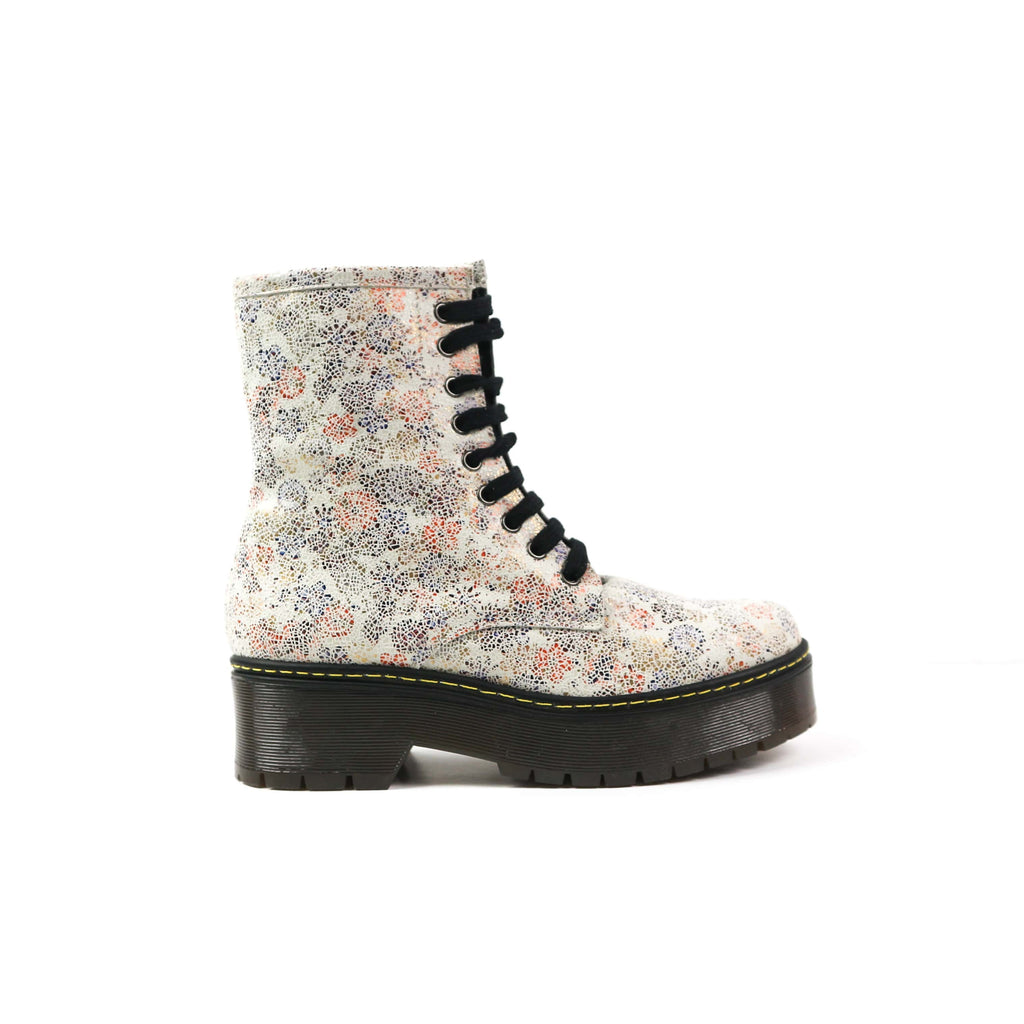 LEXI | Flower Patterned Biker Boots - TrystShoes