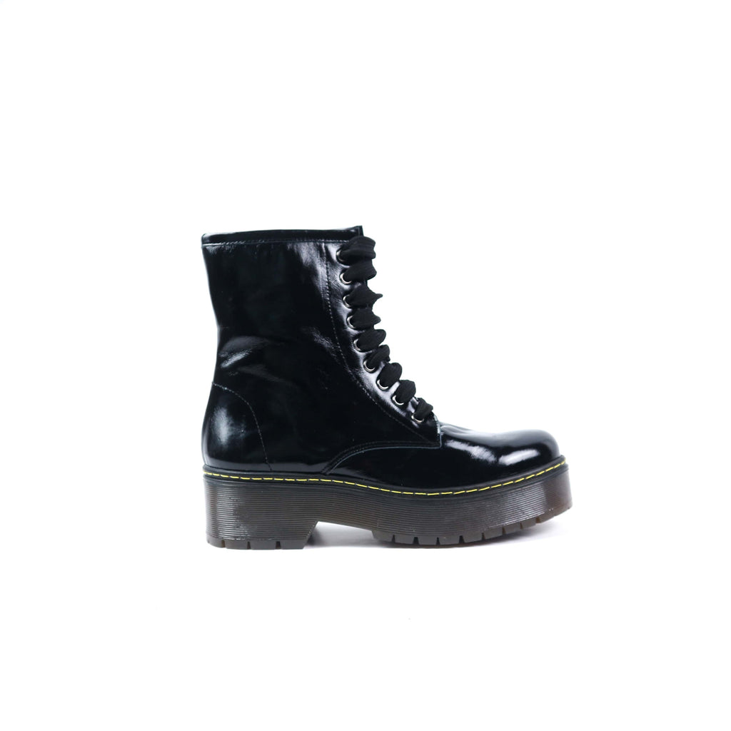 ALONZO | Black Patent Leather Biker Boots - TrystShoes