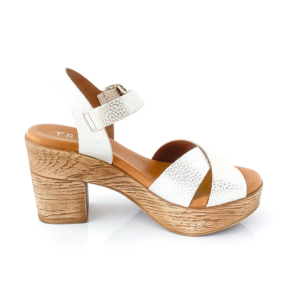 MARITZA | White Metallic Wedge Sandal - TrystShoes