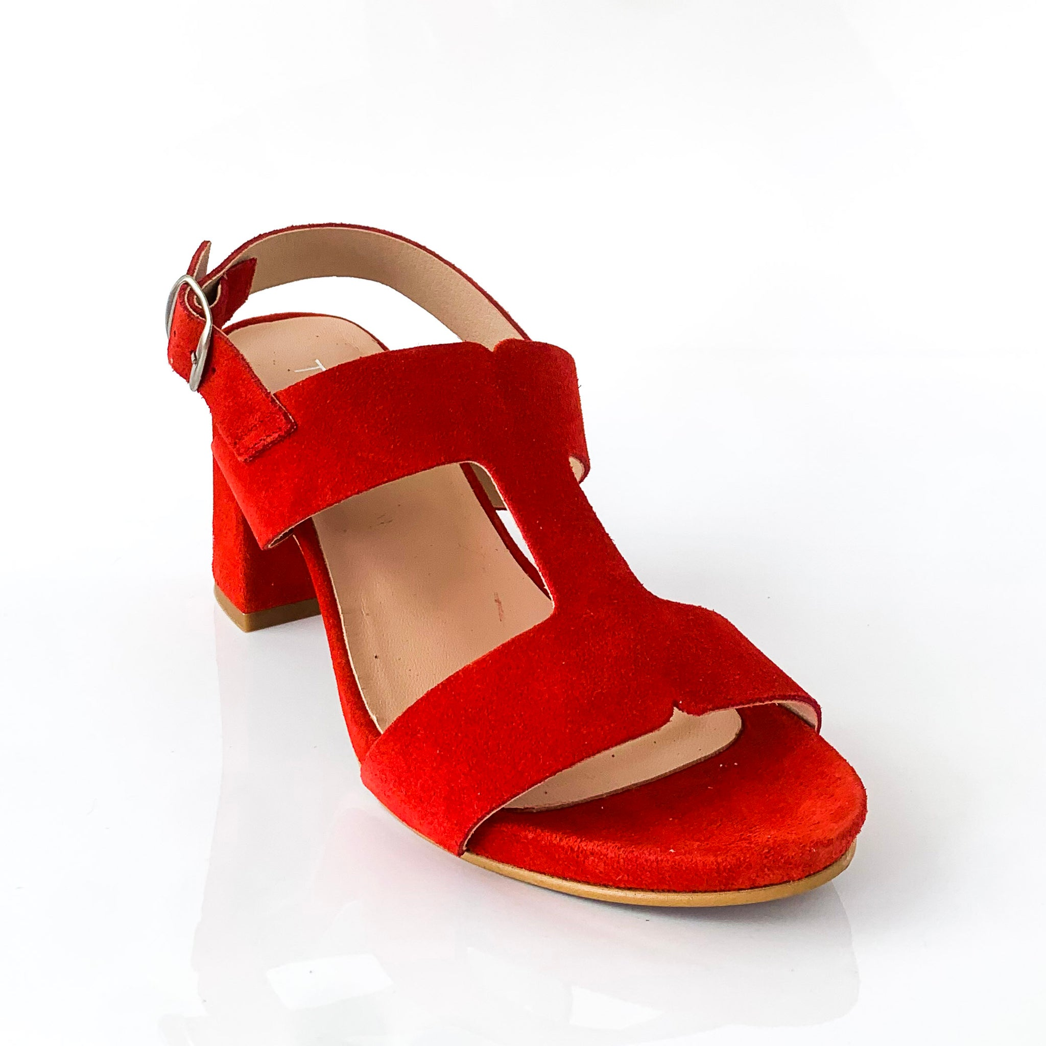 DAWNA | Red Suede Sandals - TrystShoes