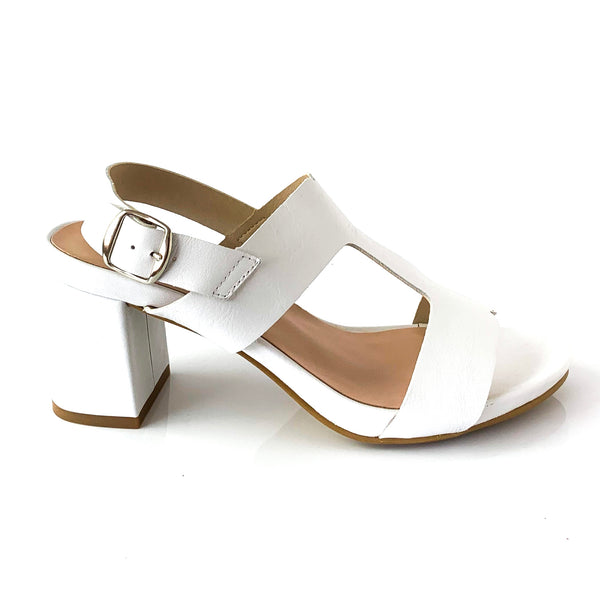 ELLA | White Sandal with Straps - TrystShoes