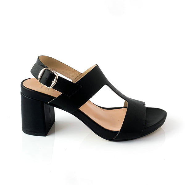 ALICE | Black Leather Sandal - TrystShoes