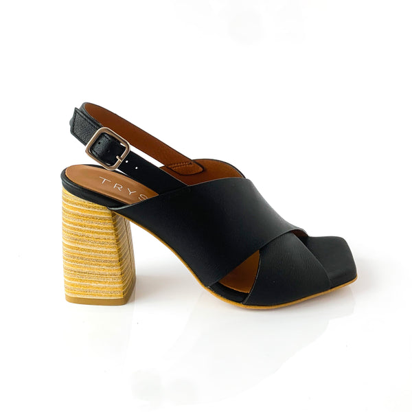 AMADA | BLACK WEDGE SANDALS - TrystShoes